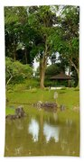 Gazebo Trees Lake And Rock Garden In Singapore Chinese Gardens Beach Towel