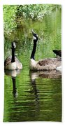 Geese And Green Beach Towel