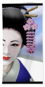 Geisha On Mount Fuji Beach Towel