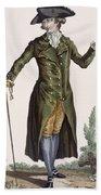 Gentleman In Green Coat, Plate Beach Towel