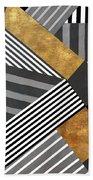 Geo Stripes In Gold And Black II Beach Towel