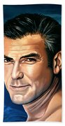 George Clooney 2 Beach Towel by Paul Meijering