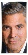 George Clooney Portrait Beach Towel