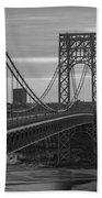 George Washington Bridge Frame Work Bw Beach Towel