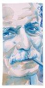 Georges Brassens - Watercolor Portrait Beach Towel