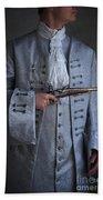 Georgian Gentleman Holding A Flintlock Pistol Beach Towel