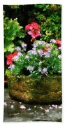 Geraniums And Lavender Flowers On Stone Steps Beach Towel
