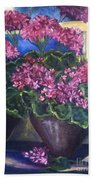 Geraniums Blooming Beach Towel by Sherry Harradence