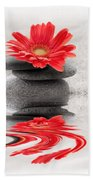 Gerbera Reflection Beach Towel by Delphimages Photo Creations