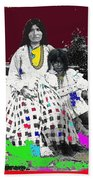 Geronimo's Wife Ta-ayz-slath And Child Unknown Date Collage 2012 Beach Towel