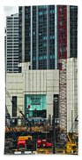 Downtown Chicago High Rise Construction Site Beach Towel