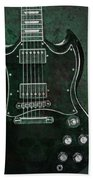 Gibson Sg Standard Green Grunge With Skull Beach Towel