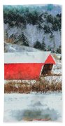 Gifford Covered Bridge In Winter Beach Towel