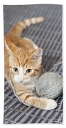 Ginger Cat With Yarn Ball Beach Towel