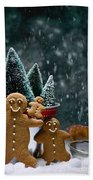 Gingerbread Family In Snow Beach Towel