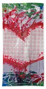 Gingham Crazy Heart Shrink Wrapped Beach Towel