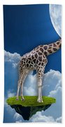 Giraffe Flying High Beach Towel