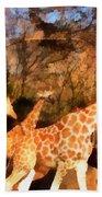 Giraffes At The Zoo Beach Towel