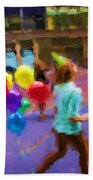 Girl And Her Balloons Beach Towel