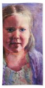 Girl In A Purple Sweater Beach Towel
