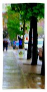Girl In The Yellow Raincoat Rainy Stroll Through Streets Of The City Montreal Scenes Carole  Beach Towel