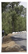 Girl On A Mountain Highway Road Beach Towel