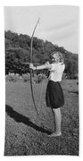 Girl Scout With Bow And Arrow Beach Towel