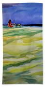 Girl With Dog On The Beach Beach Towel