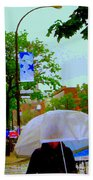 Girl With Large Umbrella Its Raining Its Pouring April Showers Montreal Scenes Carole Spandau Art Beach Towel