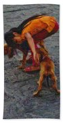 Girl With Two Dogs Beach Towel
