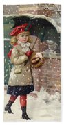 Girl With Umbrella In A Snow Shower Beach Towel