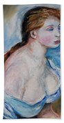 Girl With With Daisies Renoir Beach Towel