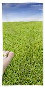 Girls Feet On Grass With Flowers Beach Towel