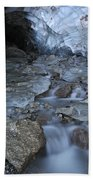Glacial Creek Flowing From Blue Ice Beach Towel