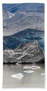Glacier Tongue Calfing Icebergs Into Glacial Lake Beach Towel