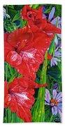 Gladiola And Echinacea Beach Towel