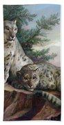 Glamorous Friendship- Snow Leopards Beach Towel