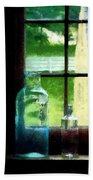 Glass Bottles On Windowsill Beach Towel