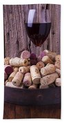 Glass Of Wine With Corks Beach Towel