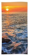Gleaming Fire At Coitelada Galicia Spain Beach Towel