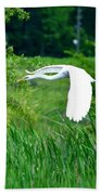 Gliding Egret Beach Towel