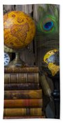 Globes And Old Books Beach Towel