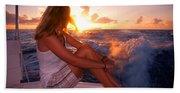 Glowing Sunrise. Greeting New Day  Beach Towel