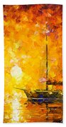 Glows Of Passion - Palette Knife Oil Painting On Canvas By Leonid Afremov Beach Towel