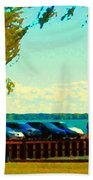Go Fly A Kite Off A Short Pier Lachine Lighthouse Summer Scene Carole Spandau Montreal Art  Beach Towel