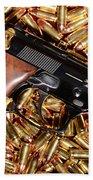 Gold 9mm Beretta With Brass Ammo Beach Towel