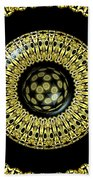 Gold And Black Stained Glass Kaleidoscope Under Glass Beach Towel