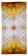 Gold And White Light Mandala Beach Towel