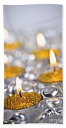 Gold Christmas Candles Beach Towel