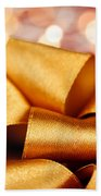 Gold Gift Bow With Festive Lights Beach Sheet